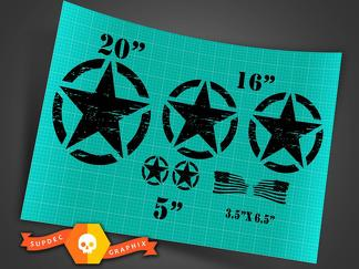 Jeep Wrangler Oscar Mike distressed style military star basic 7 decals kit