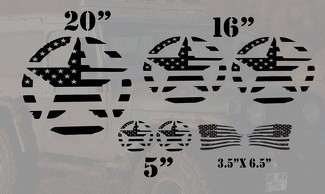 Jeep Wrangler military distressed star flag basic 7  decal kit