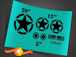 Jeep Wrangler military star  basic 7 decal kit