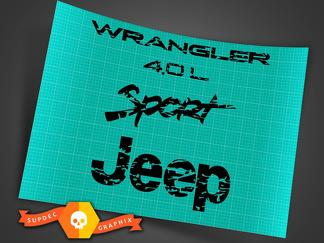Jeep Wrangler 4.0 TJ fender logos distressed 1997 -2006
