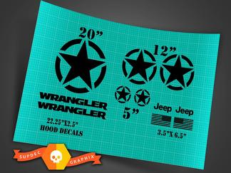 Jeep Wrangler Oscar Mike style military  star decal kit + hood decals