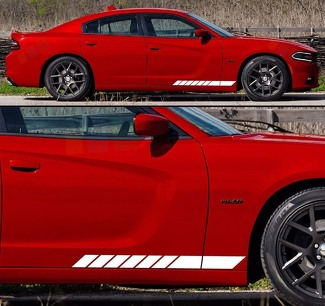 Set of Rocker Panel Racing Stripes Decal Sticker Vinyl Compatible with Previous and Current Dodge Charger Models