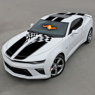 CHEVROLET CAMARO 2016-2018 CHECKERED SPORT STRIPES W/ ROOF VINYL DECAL