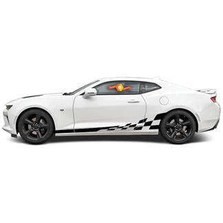 CHEVROLET CAMARO 2016-2018 CHECKERED ROCKER SIDE VINYL STRIPES