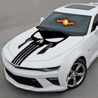Chevrolet Camaro 2016-2018 -Ss- Punisher Style Skull Hood Vinyl Decal
