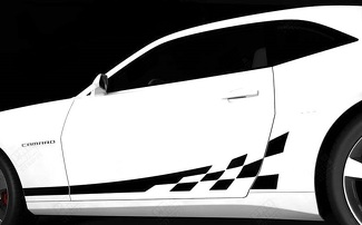 CHEVROLET CAMARO 2010-2015 CHECKERED ROCKER PANEL SIDE STRIPES