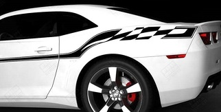 CHEVROLET CAMARO 2010-2015 CHECKERED FLAG STYLE SIDE STRIPES