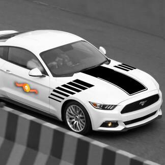 Ford Mustang 2015-2020 Motorhaube und Seitenblitz Akzent Aufkleber Streifen