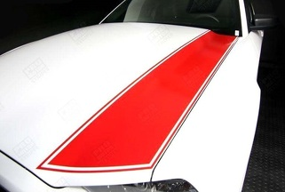 FORD MUSTANG 2005-2009 & 2013-2014 HOOD SIDE STRIPES W/ PINSTRIPING