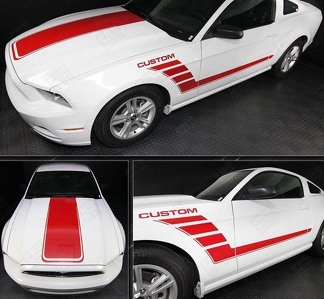 FORD MUSTANG 2005- 2014 HOOD AND SIDE STROBE STRIPES