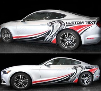 FORD MUSTANG 2015-2017 COBRA STYLE MULTI-COLOR SIDE STRIPES DECAL
