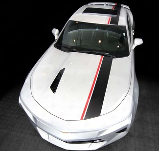 CHEVROLET CAMARO 2016-2018 (RS, LT) TOP OFFSET STRIPES HOOD, ROOF & REAR