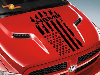 DODGE RAM Hemi 1500 2500 - 1x HOOD DECAL graphics vinyl stripe sticker flag logo
