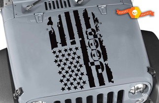JEEP WRANGLER 1x Hood Decal racing stickers flag logo graphic vinyl hood stripe