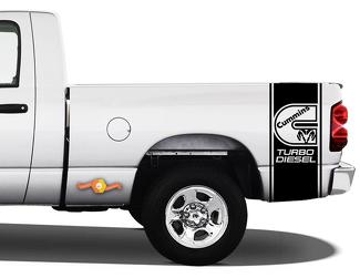 DECALS Truck Ran CUMMINS TURBO DIESEL Bed 2 STRIPE Vinyl Sticker#1