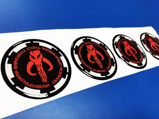 Imperial Civil Response - Mandalorian Division Domed Badge Emblem Resin Decal Sticker