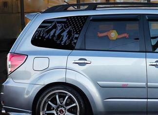 Subaru Forester USA Flag Windshield Decals Stickers Fits 2009-2013 Side Windows - 2.5x Turbo
