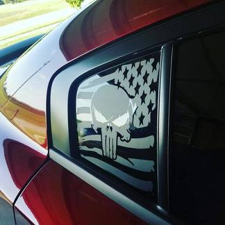 2 Dodge Charger Window US flag Punisher  Vinyl Windshield Decal Graphic Stickers