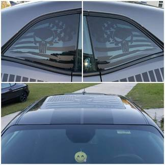 2 Dodge Challenger Window and Sunroof US flag Scatpack Vinyl Windshield Decal Graphic Stickers