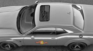 2 Dodge Challenger Window Sunroof R/T flag Vinyl Windshield Decal Graphic Stickers