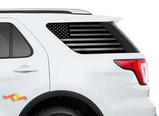 2011-2018 Ford Explorer Sport - USA Flag Windshield Decals for Rear windows Stickers