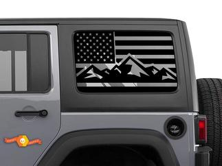 Jeep Hardtop Flag  Windshield  Decal Mountain USA American Wrangler JKU JLU 4Dr Rubicon Stickers