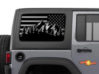 Jeep Wrangler USA Flag Mountain Scene Windshield  Decal JKU JLU 4Dr 2007-2019 Rubicon Stickers