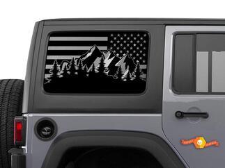 Jeep Wrangler USA Flagge Bergszene Windschutzscheibe Aufkleber JKU JLU 4Dr 2007-2019 Rubicon Aufkleber