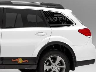 Subaru Outback Moose Design USA Flag Decals 2015-2019 2.5i Premium PZEV 3.6 QB8