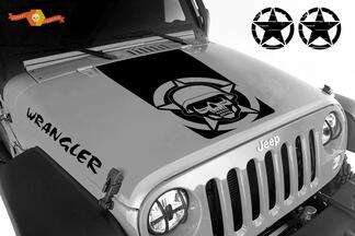 Blackout military skull 5 piece vinyl hood decals set Jeep Wrangler JK JKU LJ TJ