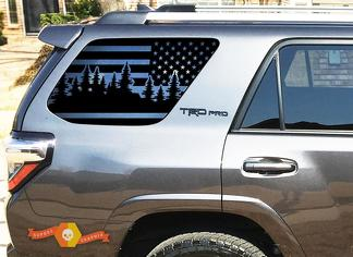 Forest Trees USA Flag Decal For 2010-2019 Toyota 4Runner TRD PRO windows