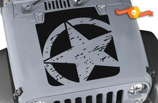 jeep wrangler distressed military star tj hood decal 1997-2006 models