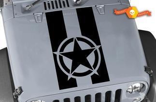 Vinyl Hood Decal Blackout military star for Jeep Wrangler JK JK LJ TJ Graphic