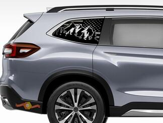 Subaru Ascent Outdoor USA Flag Decals 2019 Side Windows Mountain Scene