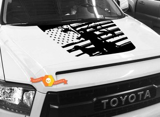 Hood USA Distressed Flag Duck Hunter graphics decal for TOYOTA TUNDRA 2014 2015 2016 2017 2018 #9