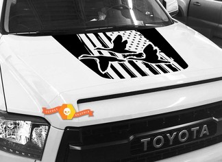 Hood USA Distressed Flag Ducks graphics decal for TOYOTA TUNDRA 2014 2015 2016 2017 2018 #10