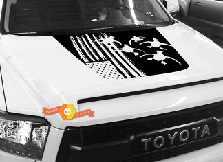 Hood USA Distressed Flag Ducks graphics decal for TOYOTA TUNDRA 2014 2015 2016 2017 2018 #11
