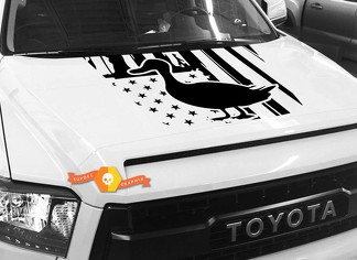 Hood USA Distressed Flag Duck graphics decal for TOYOTA TUNDRA 2014 2015 2016 2017 2018 #17