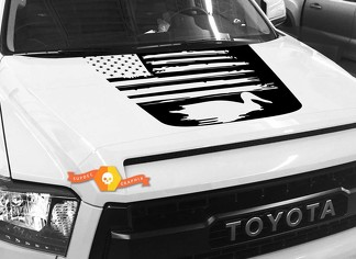 Hood USA Distressed Flag Duck graphics decal for TOYOTA TUNDRA 2014 2015 2016 2017 2018 #18