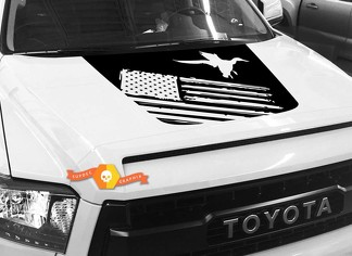 Hood USA Distressed Flag Duck graphics decal for TOYOTA TUNDRA 2014 2015 2016 2017 2018 #19