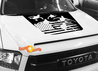 Hood USA Distressed Flag Ducks graphics decal for TOYOTA TUNDRA 2014 2015 2016 2017 2018 #20