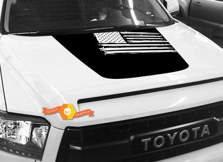 Hood USA Distressed Flag graphics decal for TOYOTA TUNDRA 2014 2015 2016 2017 2018 #25