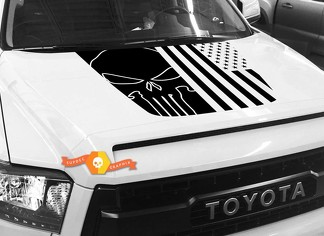 Hood USA Distressed Punisher Flag graphics decal for TOYOTA TUNDRA 2014 2015 2016 2017 2018 #30