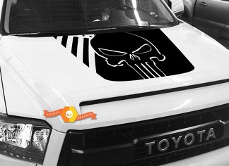 Hood USA Distressed Punisher Flag graphics decal for TOYOTA TUNDRA 2014 2015 2016 2017 2018 #31