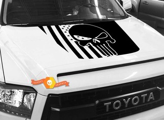 Hood USA Distressed Punisher Flag graphics decal for TOYOTA TUNDRA 2014 2015 2016 2017 2018 #36