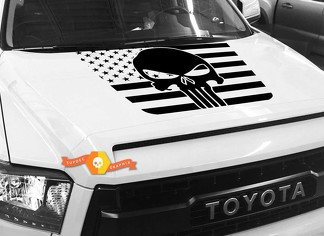 Hood USA Distressed Punisher Flag graphics decal for TOYOTA TUNDRA 2014 2015 2016 2017 2018 #38