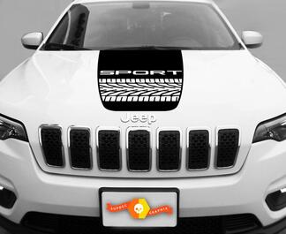 2014-2017 Jeep Cherokee Tire Track Trail Rated Sport Vinyl Hood Decal Sticker Graphic