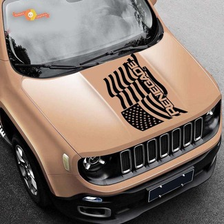 2015-2019 Waving American Flag Jeep Renegade logo vinyl hood decal