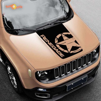 2015-2019 Blackout Distressed Star vinyl Hood decal Jeep Renegade Military Army Graphic