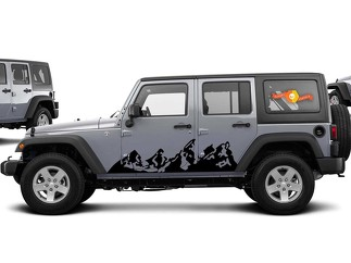 2 Jeep Wrangler Mountains For Whole Side Of Jeep Tj Jk Jku Choose Color